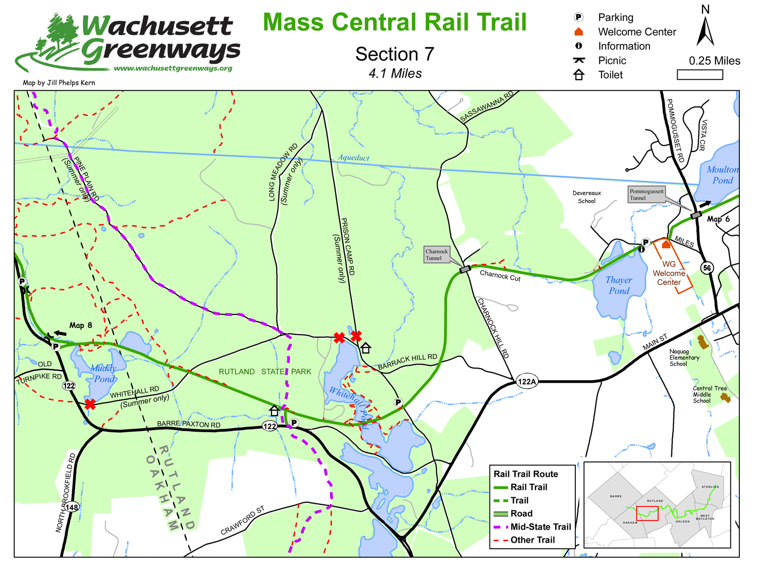 Massachusetts RailTrails And Open Spaces - Map mass